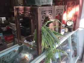 清代潮州木雕方凳一对,老家具,老屋装饰品