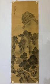 日本名家精品山水画,素堂款,包老到清代,绢本,永远保真保手绘,画工精细,镜片无裱头,脱胶,绢有裂,品相如图,画心尺寸:128×43。