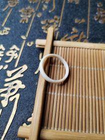 【收藏级】清中晚期亚洲白料戒环内径16.7mm3.4*1.8mm识货者得之