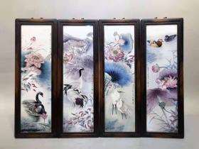 瓷板画粉彩荷花四条挂屏