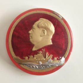 毛主席大像章,手工制作,珠光有机玻璃鎏金款