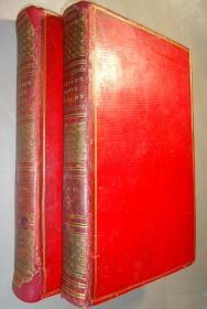 1794年 Remarks on Forest Scenery 如画主义创始人William Gilpin名著《森林景观图考》全火红摩洛哥横纹羊皮豪华善本3册全 合订于2册 大量绝美早期套色石版画 极其珍贵