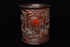 竹子雕工镶嵌木底木口笔筒,重493克,380