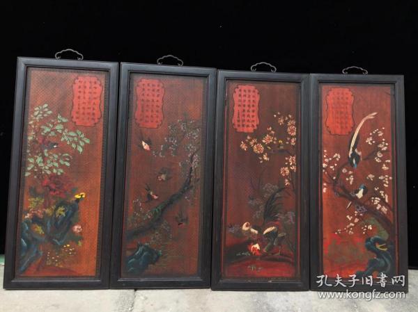 民国时期大户酸枝木四条挂屏漆器屏风,高60公分,整体宽106公分