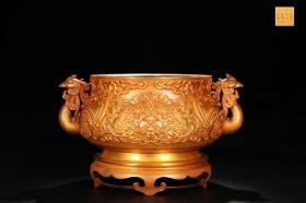 明 精铸铜胎鎏金牡丹纹凤首耳炉