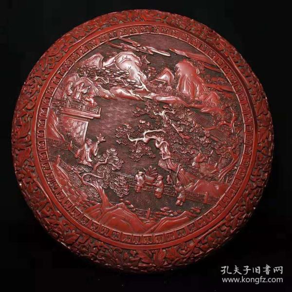 老古董漆器民间特色手工艺锡红漆器盒y