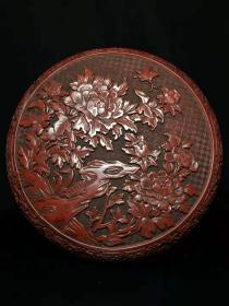 老古董漆器特色手工艺锡红漆器盒y