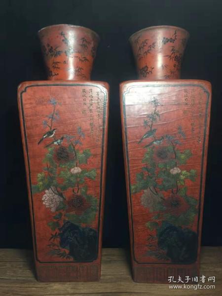 老古玩民间特色手工艺老胎漆器花瓶一对y