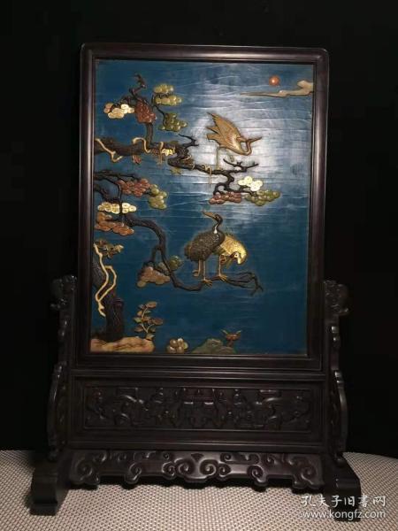 老古玩收藏手工艺小叶紫檀木框漆器镶多宝屏风,y