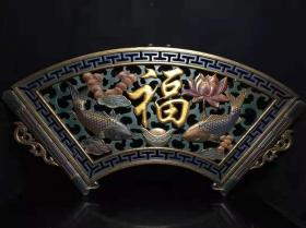 老古董民间特色手工艺木胎漆器漏空挂匾y