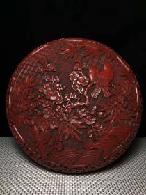 老古玩漆器民间特色手工艺锡红漆器盒y