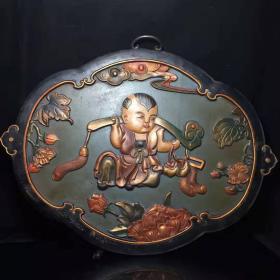 老古董漆器民间特色手工艺木胎漆器挂匾,y