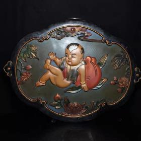 老古董漆器民间特色手工艺木胎漆器挂匾y