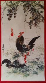 王雪涛绘公鸡1张 旧藏宣纸挂历画内芯