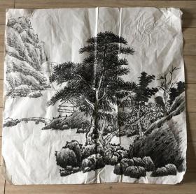 国画 宣纸未裱 水墨画 尺寸:69x69厘米