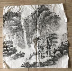 国画 宣纸未裱 《水墨画 》尺寸:69x69厘米 品相以图为准
