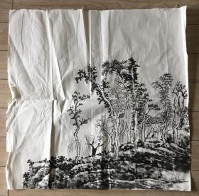 国画 宣纸未裱 — 水墨画 尺寸:69x69厘米 品相以图为准