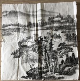 国画 宣纸未裱 // 水墨画 尺寸:69x69厘米