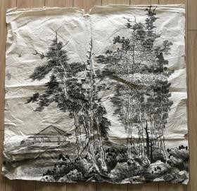 国画 宣纸未裱 - 水墨画 尺寸:67x67厘米