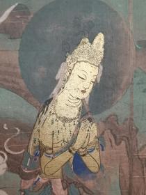 #国画#日本国宝*《山越的观音》*近百年手拓木版画