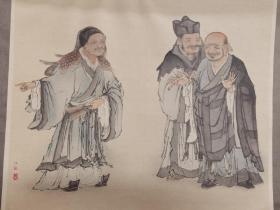 ※木版画※狩野元信※虎溪三笑※近百年高级套色木刻版画