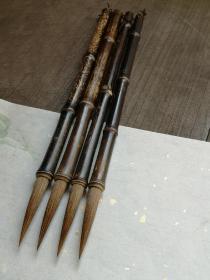 紫竹长峰狼毫老毛笔,适合书写大行草、隶篆等,聚锋和弹性都不错,出锋约6、直径1厘米。60元一支,两支可包邮。