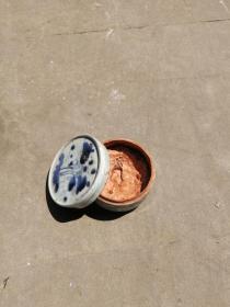清代青花印泥盒