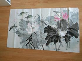 国画,手绘真迹花鸟画作品,鲶鱼.不知道哪位书画家手绘.118x70cm