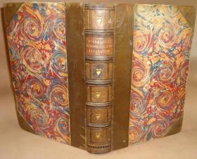 1838年ISAAC DISRAELI - CURIOSITIES OF LITERATURE - 伊萨克•迪斯雷利《文学古玩录》3/4小牛皮古董书 钢版画插图 增补精美插图 超大开本 品佳