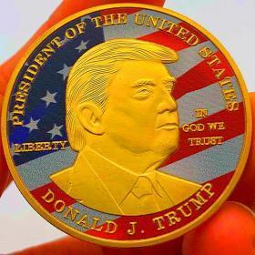 现货 美国总统特朗普川普镀金彩绘纪念币 收藏币金币硬币纪念章