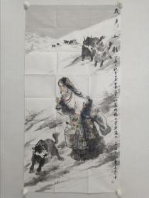 保真书画,当代优秀人物画家,画牛名家毛伟,四尺整纸人物画《岁月如歌》一幅         现为中国戏曲学院教授、中国美术家协会会员、中国民主建国会员。这几年来,创作了大量的人物画作品和水墨牦牛作品,在国内外举办了多次展览,个人作品曾被多家报纸和专业刊物专题介绍。