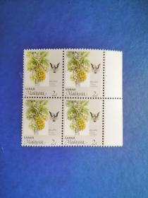 外国邮票  马来西亚邮票 1986年 农作物 水果  4方联(无邮戳新票)