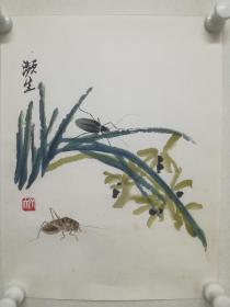早期木板水印画《2草虫》