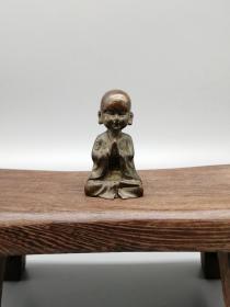 纯铜黄铜打坐小和尚把件