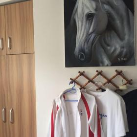 比赛休息室的原版油画《队友》,19年3月原版油画,作者薛德松,尺寸950x630mm。