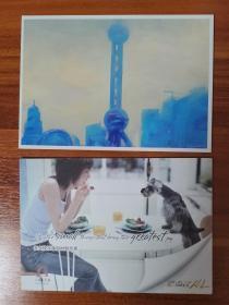 乐卡 广告明信片2张 上海的东方明珠插画与新天地咖啡座