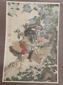 ※伊藤若冲※雄鸡图※近百年高级套色木版画※