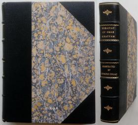 《鲁拜集》1910年豪华私人定制插画家杜拉克插图本摩洛哥半皮装诗集手工装帧极精美