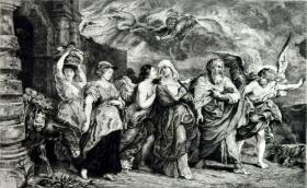 """""""大英博物馆藏画""""""""鲁本斯名画""""1882年法国蚀刻铜版画《罗得的逃离》——佛兰德斯画家 """"鲁本斯(Peter Paul Rubens,1577--1640) """"作品 版画家:Charles Bernard de Billy雕刻 法国ARCHES版画专用水印纸  40x30cm"""