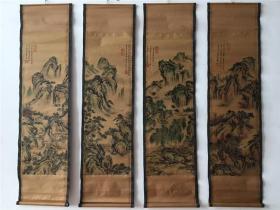 仿古做旧国画字画山水画唐寅夏月图已装裱家居办公四条屏装饰挂画