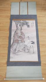 日本回流字画挂轴手绘高沙图略有破损