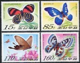 朝鲜光明女神蝴蝶等邮票4全
