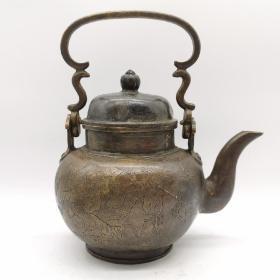 古玩铜器收藏,复古老铜提梁壶