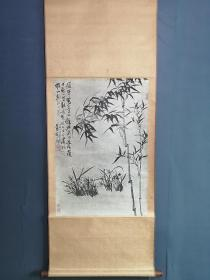 石涛兰竹 国立历史博物馆。原装裱立轴