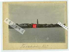 清代湖南岳阳洞庭湖边西南沿岸风光,可见慈氏塔,长邱会馆等,16.5X11.5厘米。