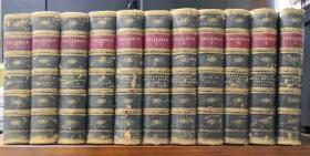 1874-1875年出版The  Works of William Makepeace Thackeray《萨克雷全集》,11册,真皮精装,三边大理石花纹簪花口,英文原版