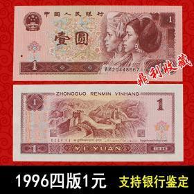 第四套人民币96年1元4版人民币961一元纸币钱币全新原票一张收藏