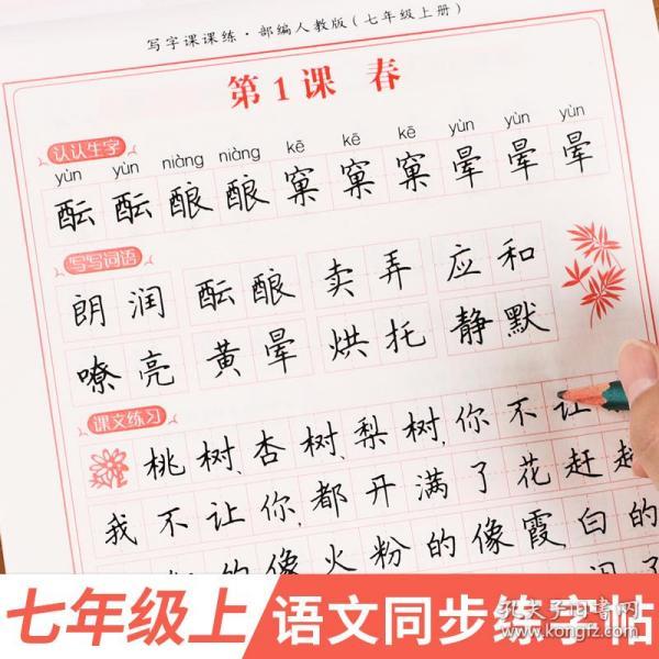 武汉惠城21秋RJ课课练(同步楷书字帖)七7上