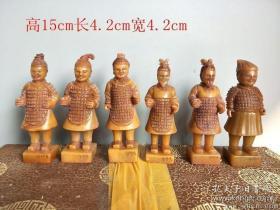 清代传世雕工不错的老田黄石兵马俑人物印章一套4