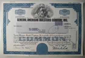 [老股票 美国 antique stock]  1980年 美国通用投资公司股票 General American Investors Company, Inc.  单枚  稀少   纳斯达克上市公司   NYSE: GAM-B